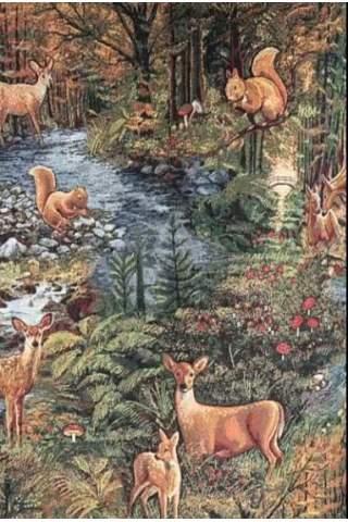 Gobelin Waldtiere Rotwild